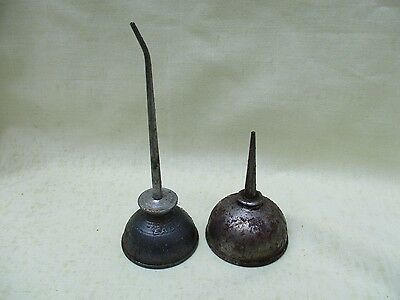 Pair of Vintage Thumb Press Oiler Cans - Eagle Curved Spout & Unmarked