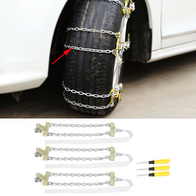 3Pcs 235-285mm Anti-skid Chains Snow Mud Car Truck Wheel Tyre Tire Cable Ties DY