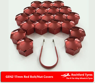 Red Wheel Bolt Nut Covers GEN2 17mm For BMW 5 Series [E60] 03-10