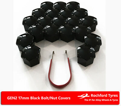 Black Wheel Bolt Nut Covers GEN2 17mm For Peugeot 3008 09-17