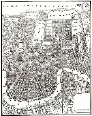 1941 Antique NEW ORLEANS Map Vintage City Map of New Orleans Louisiana 4925