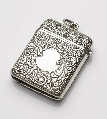 Antique Anglo-Indian Silver Plated Vesta Case with Cartouche and Mughal Mark