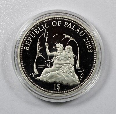 2008 Palau $1 GREY REEF SHARK Marine Life Protection Silver Plated Copper Coin