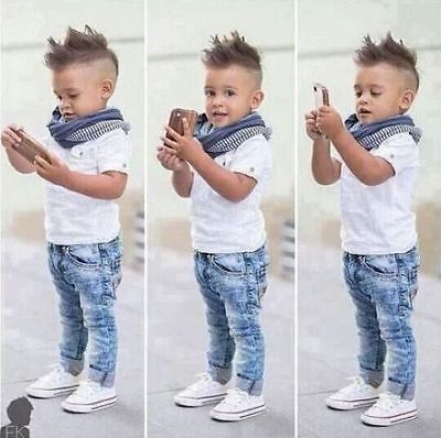 3PCS NEW Baby Boys Kids White T-shirt + Jeans + Scarf Outfits Sets Clothes 2-8T