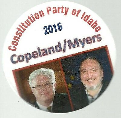 Copeland, Myers Constitution Party 2016 Jugate Political Campaign Pin