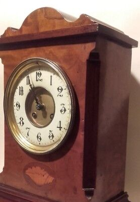 Antique Inlaid Edwardian French Walnut Mantel Clock