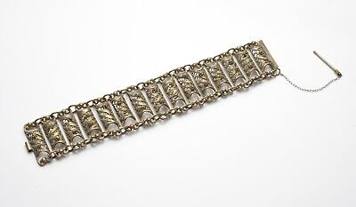 Antique Indian or Ottoman Half Pipe Filigree Brass/Bronze Bracelet with Push Pin