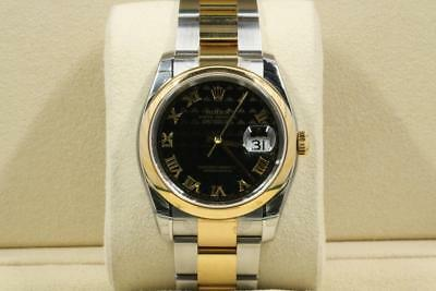 5b624f73c46 never worn Rolex Datejust Model 116203 Black Pyramid Roman Dial box and  papers