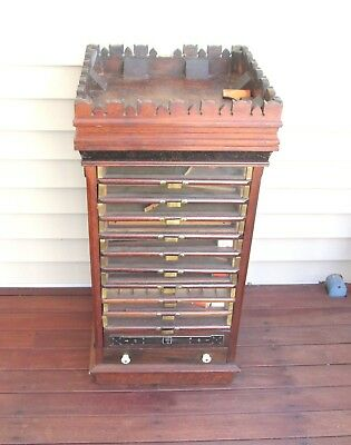 Antique Leonard Silk Co Spool Cabinet Store Display Warehouse Point Ct 12 Drawer