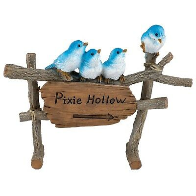 """Four Mini Bluebirds On Fence Figurine Pixie Hollow 5"""" Long Resin New In Box!"""