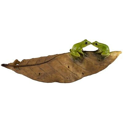"Miniature Mini Frogs On Leaf Figurine 5.5"" Long New In Box!"