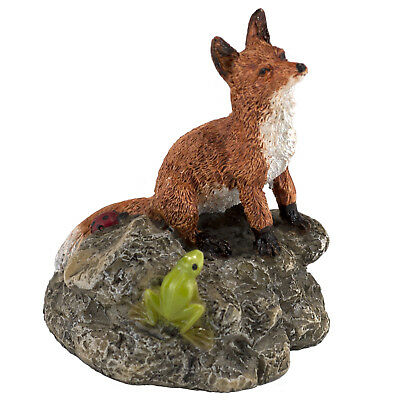 "Mini Miniature Red Fox With Frog & Ladybug Figurine 2.75"" High New In Box!"