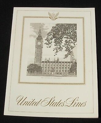 SS United States Lines Dinner Menu Feb 3 1962 Houses of Parliament