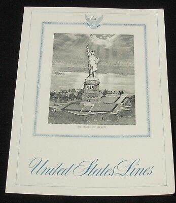 SS United States Lines Dinner Menu Feb 8 1962 Statue of Liberty