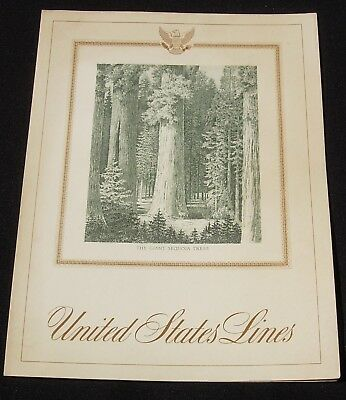SS United States Lines Luncheon Menu Feb 7 1962 Giant Sequoia Trees