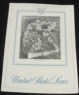 SS United States Lines Luncheon Menu Feb 9 1962 Windsor Castle