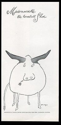 1961 Tomi Ungerer cow bull with shoe horns art Mademoiselle shoes print ad