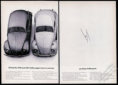 1965 VW Volkswagen Beetle classic & 1948 bug car photo 16x11 vintage print ad