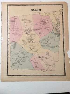 Antique Map Of Salem Connecticut With Property Owners C. 1880's