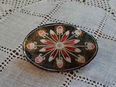 Handmade Ukrainian Pysanky Easter Egg lacquered papier mache pin for Easter