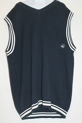 NWT Old Navy Boy Knit Fall Winter Navy Blue Cotton Vest Sweater L