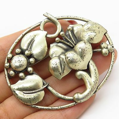 Vtg Coro 925 Sterling Silver Large Openwork Floral Pin Brooch
