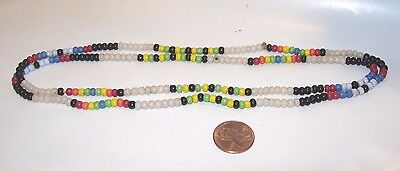 "womens antique Vintage glass beads beaded ethnic tribal Necklace 32"" jewelry"