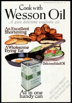 1918 Wesson Oil cake pie muffins eggs art BIG color vintage print ad