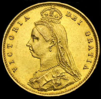 QUEEN VICTORIA 1887 GOLD HALF SOVEREIGN... About Uncirculated...