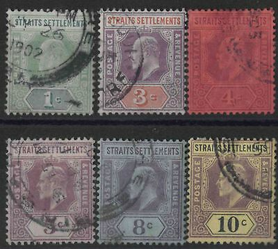 r265) Straits Settlements. 1902/03. Used. SG  110 to 115. Royalty.