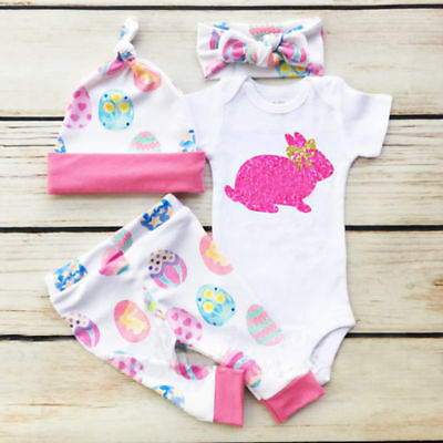 My 1st Easter Newborn Baby Boy Girl Romper Leggings Hat Cotton Outfits Clothes