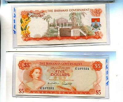 Bahamas 1965 $5 Orange Currency Note Nice Au 1683J