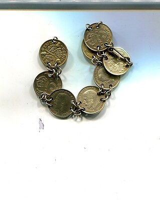 Great Britain 1915 1916 1918 1920 3 Pence Silver Coin 8 Coin Bracelet 5587J