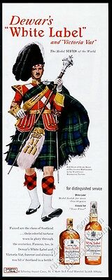 1951 Clan Gordon Highlander tartan drum major Dewar's Scotch vintage print ad
