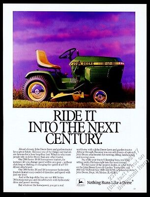 1986 John Deere 212 lawn garden tractor riding mower photo vintage print ad
