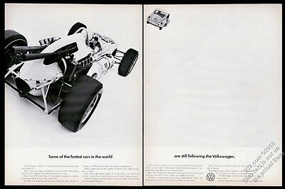 1965 VW Volkswagen Beetle classic car & race car photo 20x13 vintage print ad