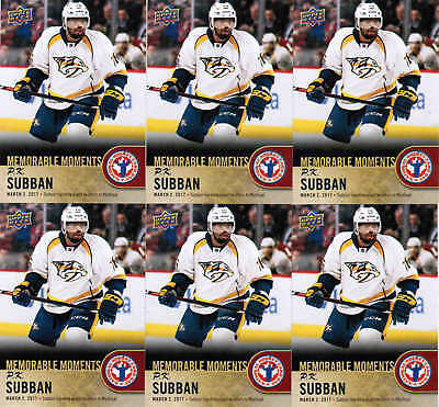 2018 Ud National Hockey Card Day P.k. Subban Can-16 Memorable Moments Lot (6)