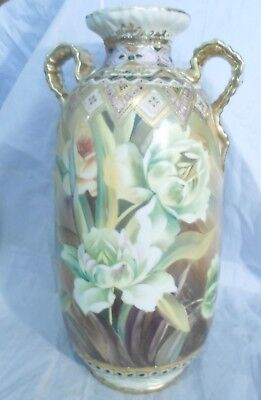 hand painted NIPPON Vase Shaggy Tulips Gold Moriage Wreath mark c1900