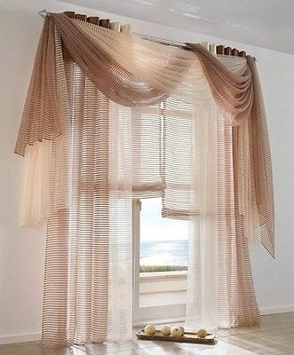 1x organza STORE ROULANT 140 x 170 Sable Rayures Transparent fermeture scratch