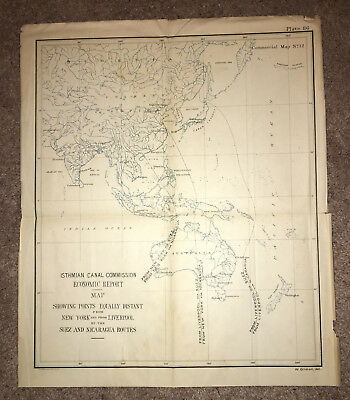 1901 Commercial Map Routes New York, Liverpool, Philippines, China, Suez Canal