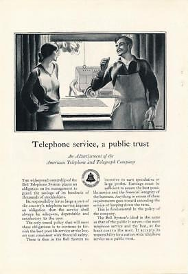 Vintage Magazine Ad - 1928 - Bell System / AT&T - Telephone Service Public Trust