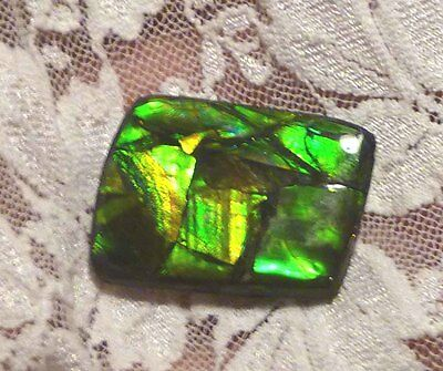 25 carats! Emerald Green AMMOLITE Finished Gemstone 30x23mm