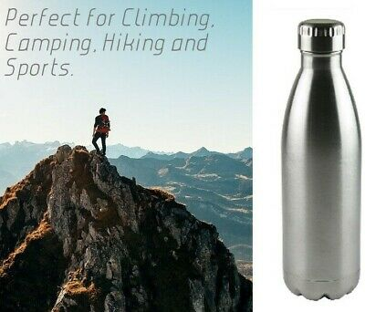 900ml Vacuum Water Bottle Silver Insulated Stainless Steel Metal Drinking Flask