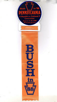 "Rare ~ "" BUSH IN '88 / PENNSYLVANIA "" ~ 1988 Convention Badge"
