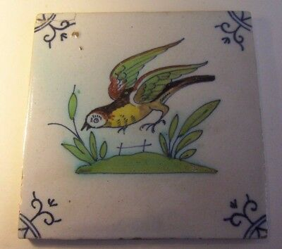 Poly-chrome  Delft Tile c. 18th  (T 13) bird