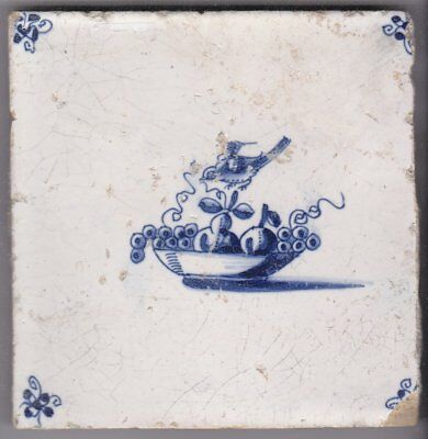 Delft Tile c. 18th / 19th century   (T 18)      Bowl of Fruit and Bird