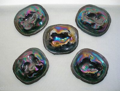 5 INCREDIBLE Rare ART NOUVEAU Iridescent Art Glass TURTLEBACK Tiles CABOCHONS
