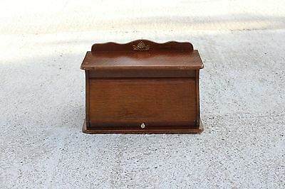 Lovely Vintage Wooden Roller Shutter Cabinet Kitchen With Brass Ornament