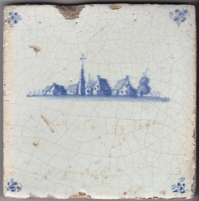 Delft Tile c. 18th / 19th century   (T 24)      Village with a church