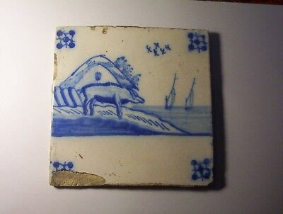 Delft Tile c. 18th / 19th century   (T 34)       Pig with house